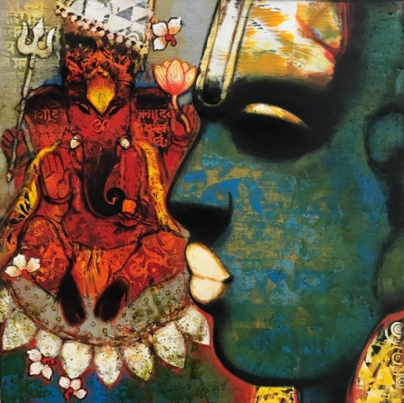 Religious Acrylic Art Painting title Ganesha 2 by artist Sujata Achrekar