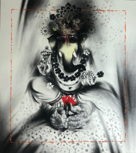 Religious Acrylic-charcoal Art Painting title Ganesha by artist Ajay De