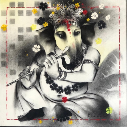 Religious Acrylic-charcoal Art Painting title Lord Ganesha by artist Ajay De