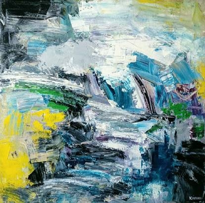 Abstract Acrylic Art Painting title 'Untitled 3' by artist Kamran Azim