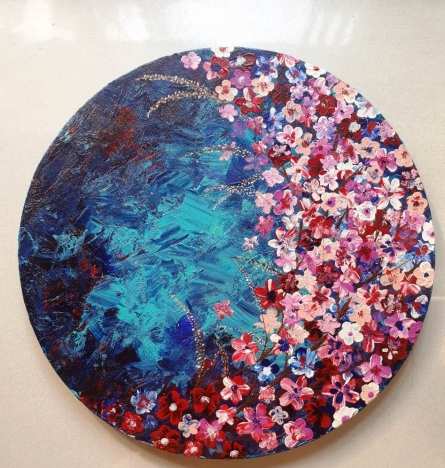 Nature Acrylic Art Painting title The Pandemic Aqua Bloom by artist Rini Sharma