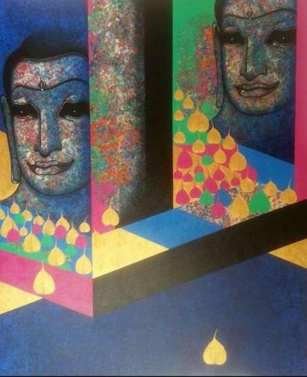 Religious Mixed-media Art Painting title 'Untitled 7' by artist Prakaash Chandwadkar
