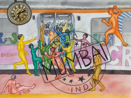contemporary Watercolor Art Painting title Bombay Life by artist Laxman Ahire