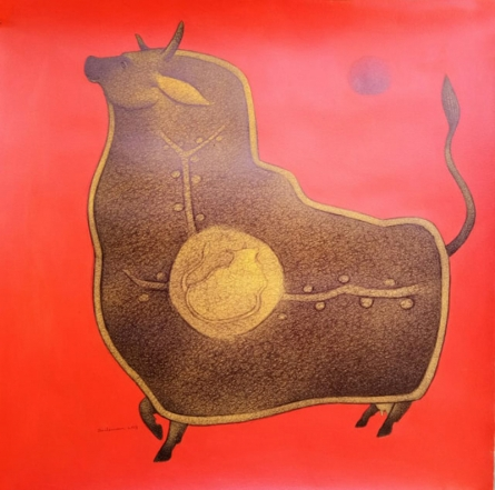 Animals Mixed-media Art Painting title 'Cow' by artist Mohammed Suleman