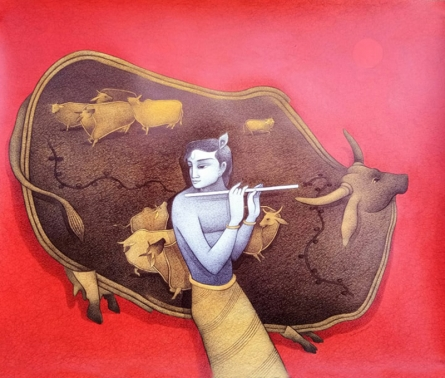 Religious Mixed-media Art Painting title 'Krishna 2' by artist Mohammed Suleman