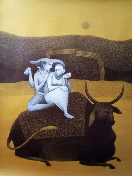 Religious Mixed-media Art Painting title 'Shiva With Parvati' by artist Mohammed Suleman