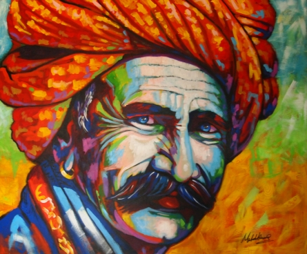 Portrait Acrylic Art Painting title 'Colorful Life' by artist Mahesh Kummar