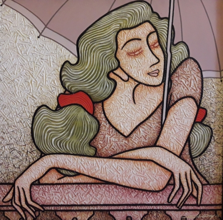 Figurative Acrylic Art Painting title 'Lady With Umbrella' by artist Sibsaday Chaudhuri
