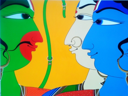 Figurative Acrylic Art Painting title 'The Performers' by artist Shahed Pasha