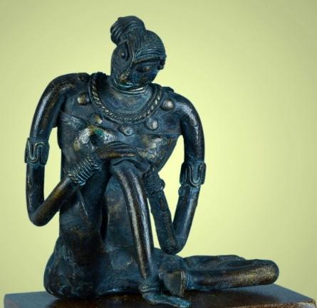 Bronze Sculpture titled 'Village Girl 1' by artist Kishor Sharma
