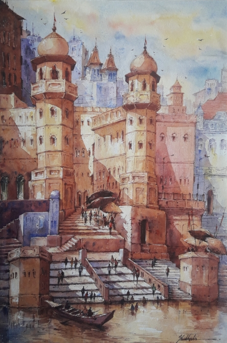 Religious Watercolor Art Painting title 'Benaras ghat-1' by artist SHUBHASHIS MANDAL