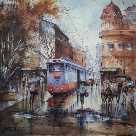 Cityscape Watercolor Art Painting title 'Tram in kolkata-1' by artist SHUBHASHIS MANDAL