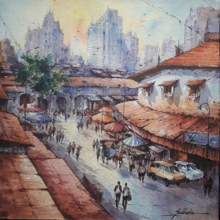 Cityscape Watercolor Art Painting title 'City scape-1' by artist SHUBHASHIS MANDAL