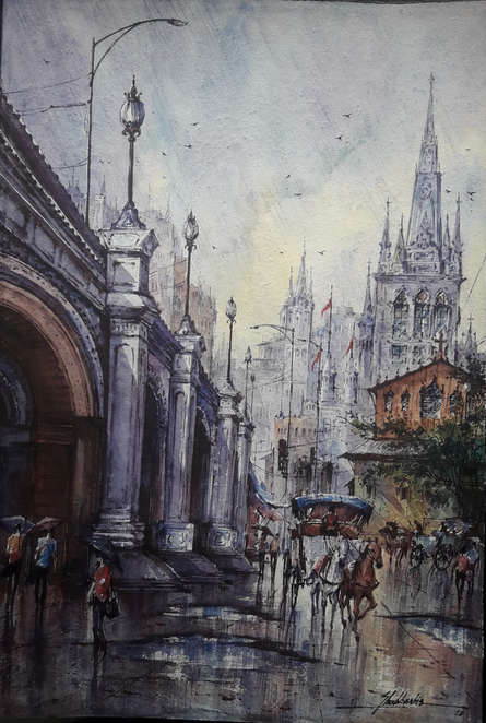 Cityscape Watercolor Art Painting title 'City in Italy-2' by artist SHUBHASHIS MANDAL
