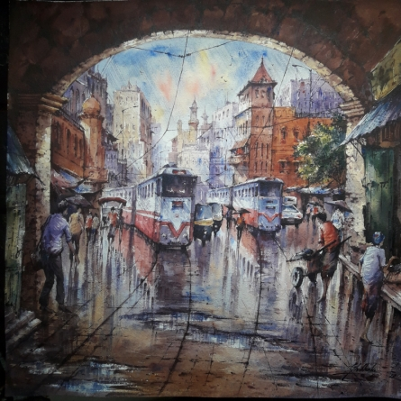 Cityscape Watercolor Art Painting title Twins tram in Kolkata-1 by artist SHUBHASHIS MANDAL