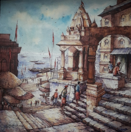 Religious Watercolor Art Painting title 'Varanasi series-1' by artist SHUBHASHIS MANDAL