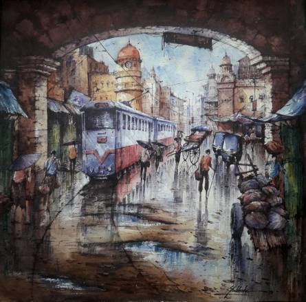 Cityscape Watercolor Art Painting title 'Tram in kolkata-2' by artist SHUBHASHIS MANDAL