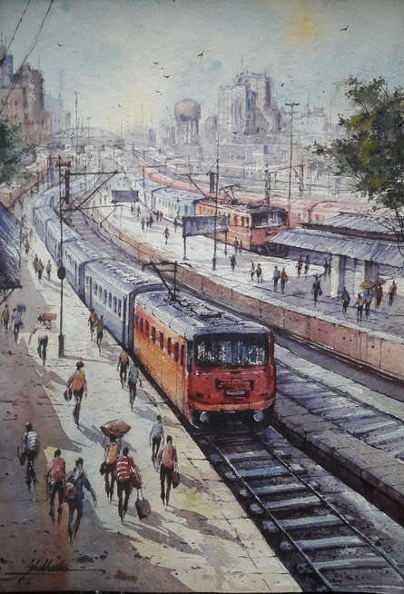 Cityscape Watercolor Art Painting title 'Railway station-1' by artist SHUBHASHIS MANDAL