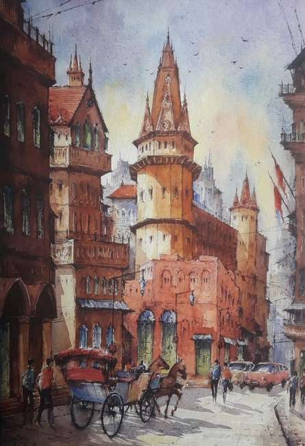 Cityscape Watercolor Art Painting title Cityscape 10 by artist SHUBHASHIS MANDAL