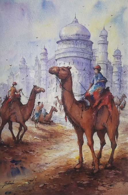 Cityscape Watercolor Art Painting title Cityscape 13 by artist SHUBHASHIS MANDAL