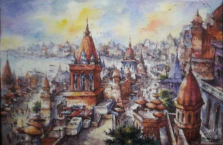Cityscape Watercolor Art Painting title Cityscape 7 by artist SHUBHASHIS MANDAL