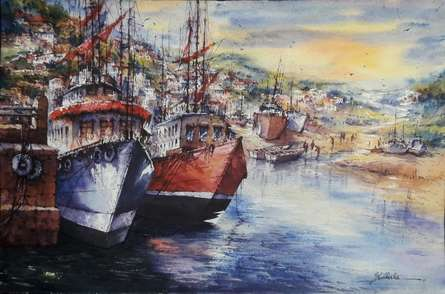 Seascape Watercolor Art Painting title Seascape 1 by artist SHUBHASHIS MANDAL
