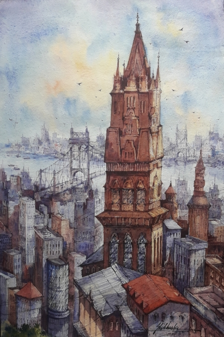 Cityscape Watercolor Art Painting title Top view city-3 by artist SHUBHASHIS MANDAL