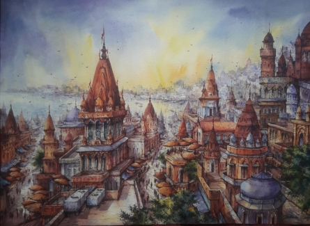 Cityscape Watercolor Art Painting title Top View Of Benaras-3 by artist SHUBHASHIS MANDAL