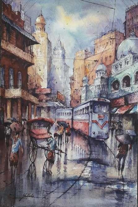 Cityscape Watercolor Art Painting title Tram In Kolkata 5 by artist SHUBHASHIS MANDAL