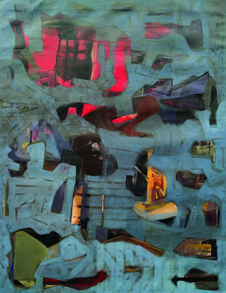 Abstract Acrylic Art Painting title 'City Life 1' by artist Prabinkumar Nath