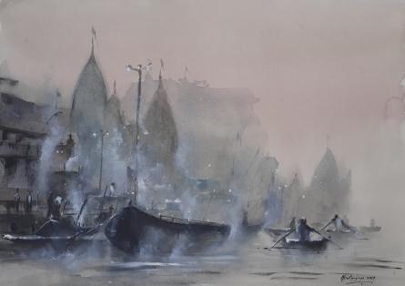Landscape Watercolor Art Painting title Misty Banaras Ghats by artist Mrutyunjaya Dash