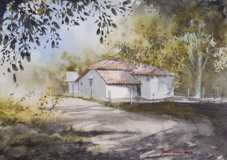 Landscape Watercolor Art Painting title Tropical summers by artist Mrutyunjaya Dash