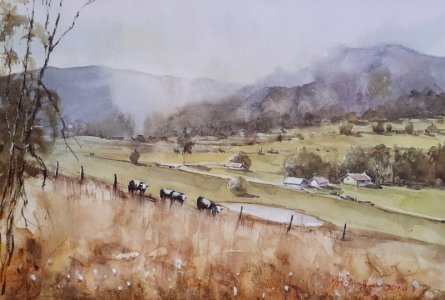 Landscape Watercolor Art Painting title 'Panaromic pastures' by artist Mrutyunjaya Dash