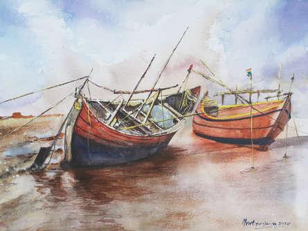 Landscape Watercolor Art Painting title 'Boats at rest' by artist Mrutyunjaya Dash
