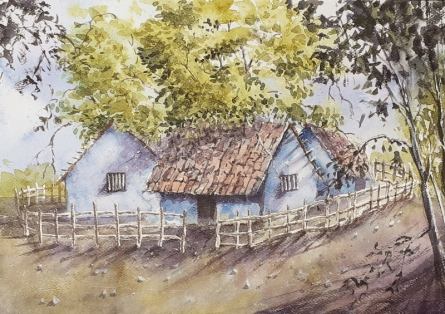 Landscape Watercolor Art Painting title 'Tropical summers' by artist Mrutyunjaya Dash