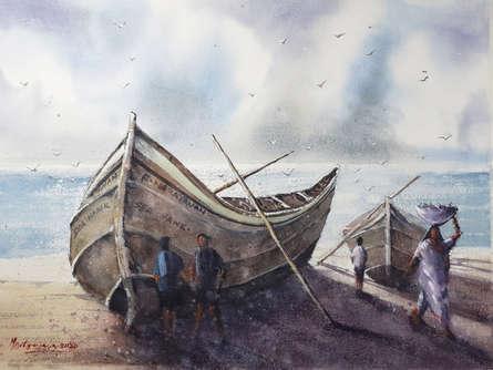 Landscape Watercolor Art Painting title 'Morning catch' by artist Mrutyunjaya Dash