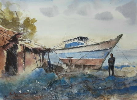 Landscape Watercolor Art Painting title 'Fishing village in Goa' by artist Mrutyunjaya Dash