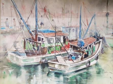 Landscape Watercolor Art Painting title 'Fishing harbor, Chapora Goa' by artist Mrutyunjaya Dash
