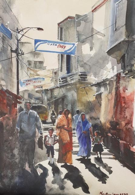 Cityscape Watercolor Art Painting title 'Returning from school' by artist Mrutyunjaya Dash