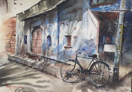 Cityscape Watercolor Art Painting title 'BiCycle in Jodhpur' by artist Mrutyunjaya Dash
