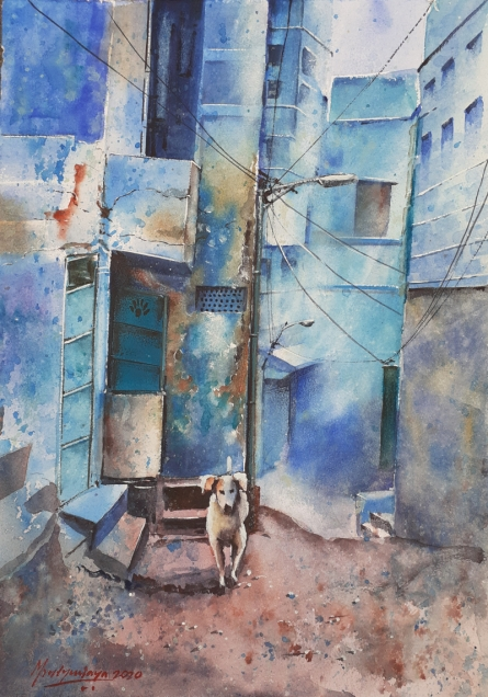 Cityscape Watercolor Art Painting title 'Lockdown in Jodhpur' by artist Mrutyunjaya Dash