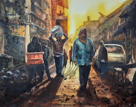 Cityscape Watercolor Art Painting title 'Winter morning in Kolkata' by artist Mrutyunjaya Dash