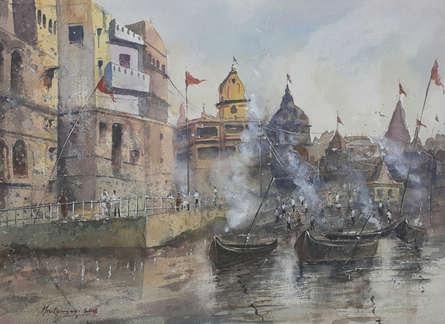 Cityscape Watercolor Art Painting title 'Manikarnika Ghat, Banaras' by artist Mrutyunjaya Dash