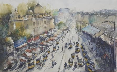 Cityscape Watercolor Art Painting title 'Hyderabad, panoramic view' by artist Mrutyunjaya Dash