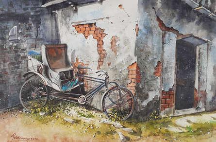 Still-life Watercolor Art Painting title 'Forgotten corner' by artist Mrutyunjaya Dash