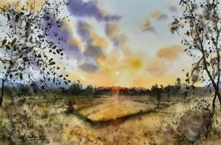 Landscape Watercolor Art Painting title Landscape - Odisha by artist Mrutyunjaya Dash
