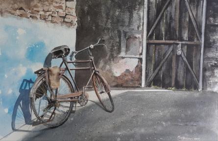 Transportation Watercolor Art Painting title BiCycle and Blue wall by artist Mrutyunjaya Dash