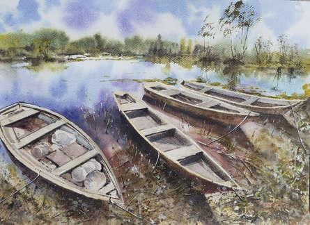 Landscape Watercolor Art Painting title 'Chilika fishing boats' by artist Mrutyunjaya Dash