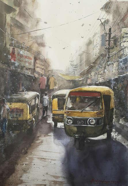 Cityscape Watercolor Art Painting title 'Busy Market Place' by artist Mrutyunjaya Dash