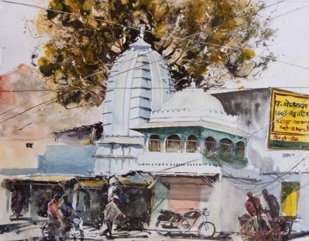 Cityscape Watercolor Art Painting title 'Streets of Udaipur' by artist Mrutyunjaya Dash